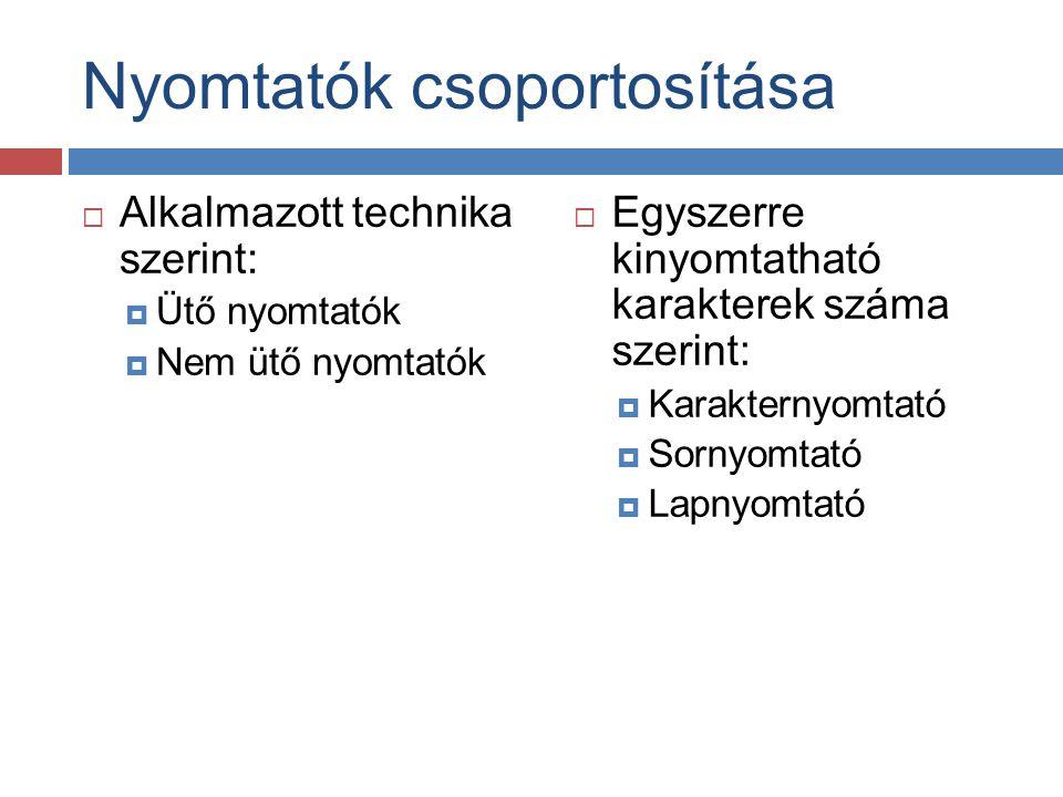 Nyomtatók csoportosítása
