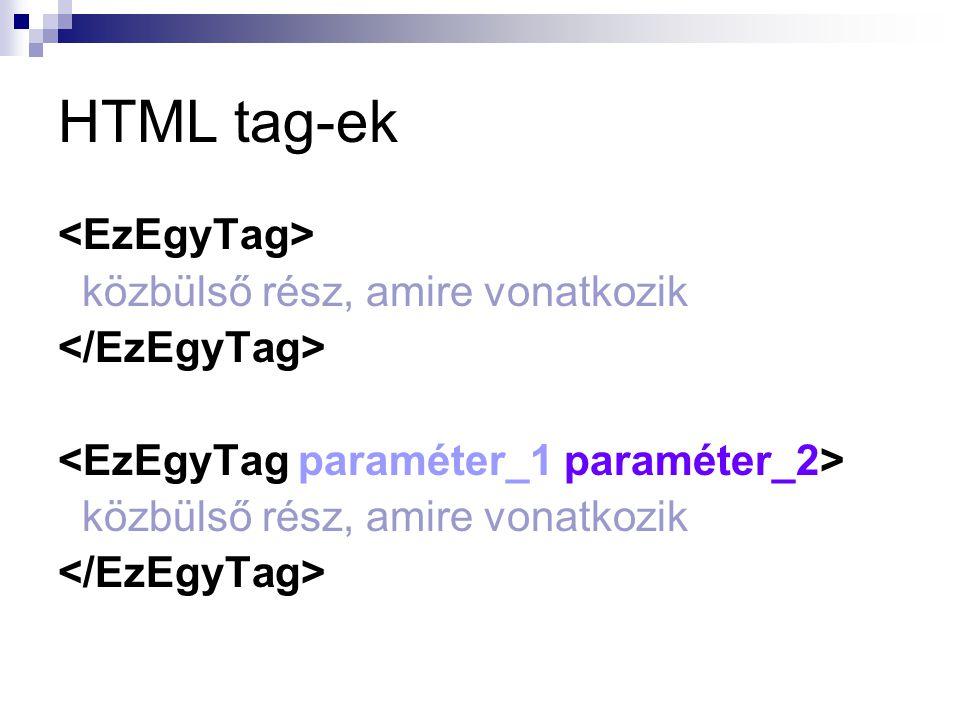 HTML tag-ek <EzEgyTag> közbülső rész, amire vonatkozik