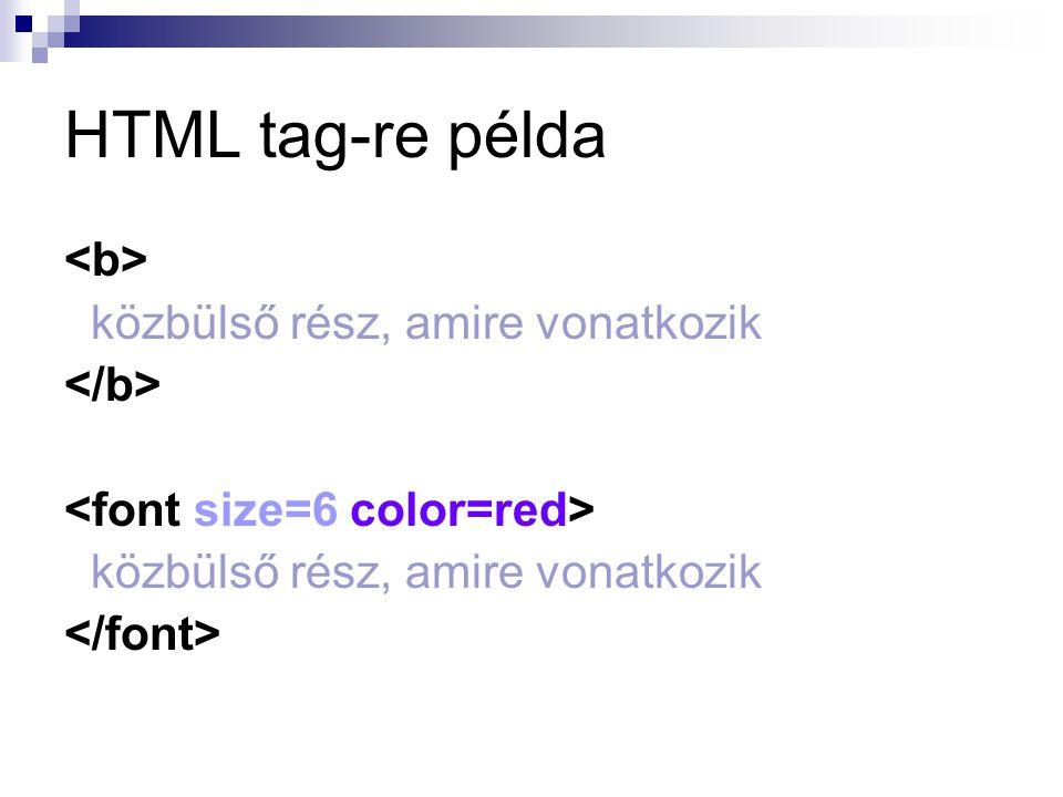 HTML tag-re példa <b> közbülső rész, amire vonatkozik </b>