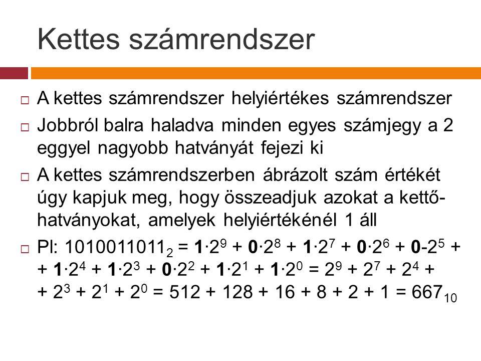 Kettes számrendszer A kettes számrendszer helyiértékes számrendszer
