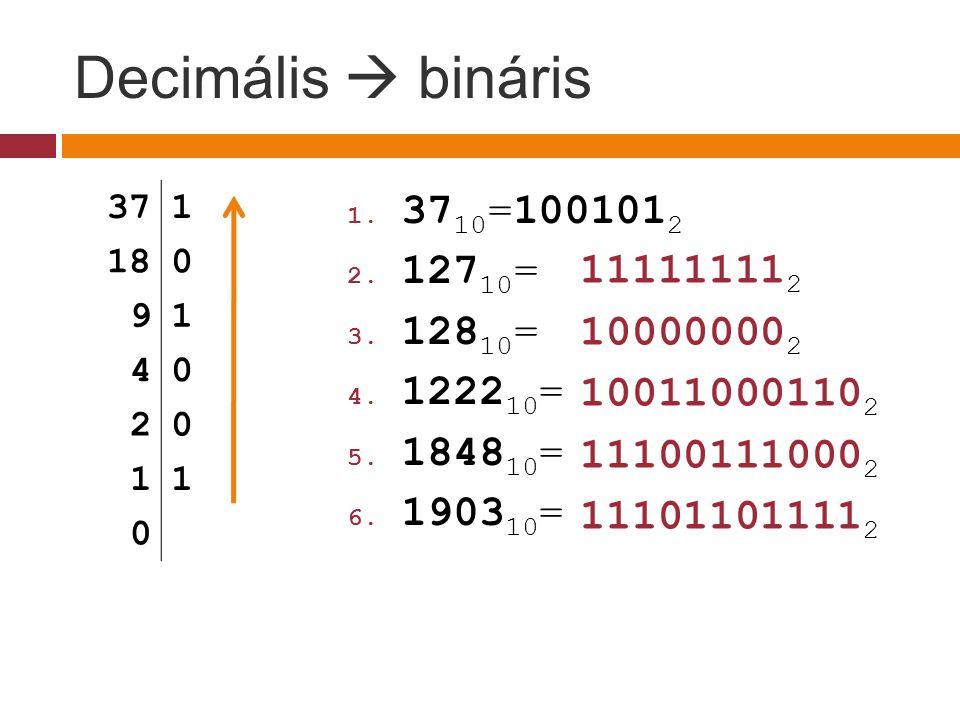 Decimális  bináris 3710=1001012 12710= 111111112 12810= 100000002