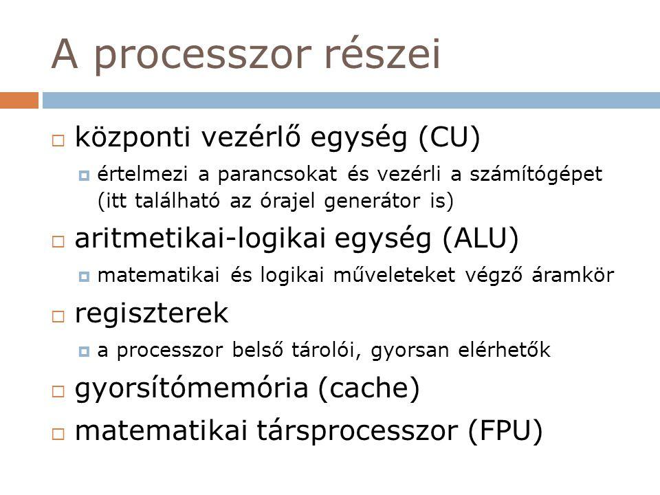 A processzor részei központi vezérlő egység (CU)