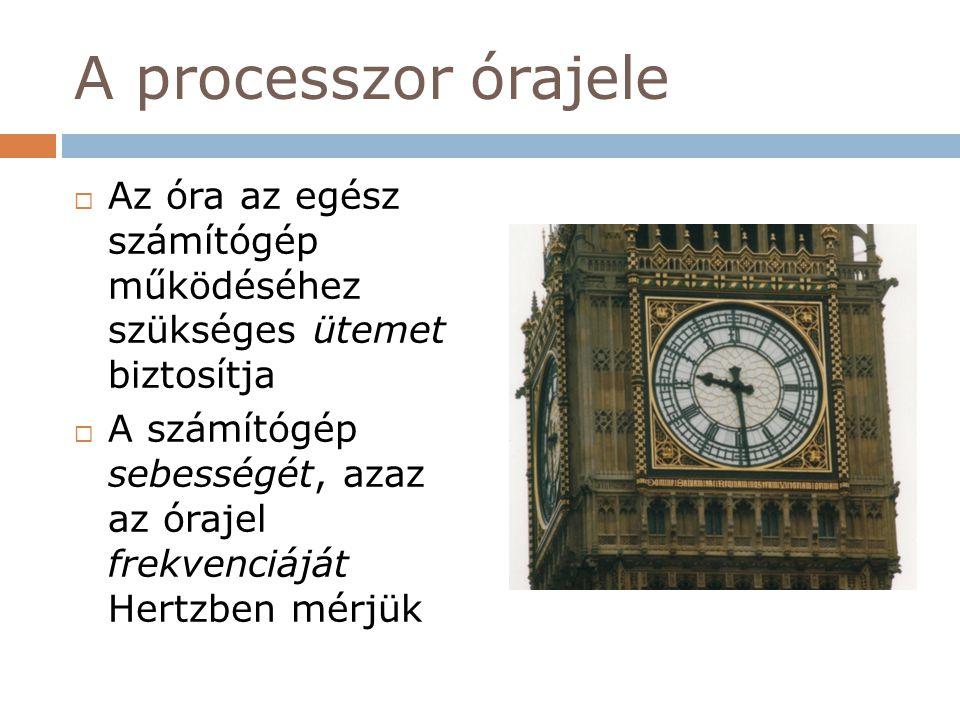 A processzor órajele Az óra az egész számítógép működéséhez szükséges ütemet biztosítja.