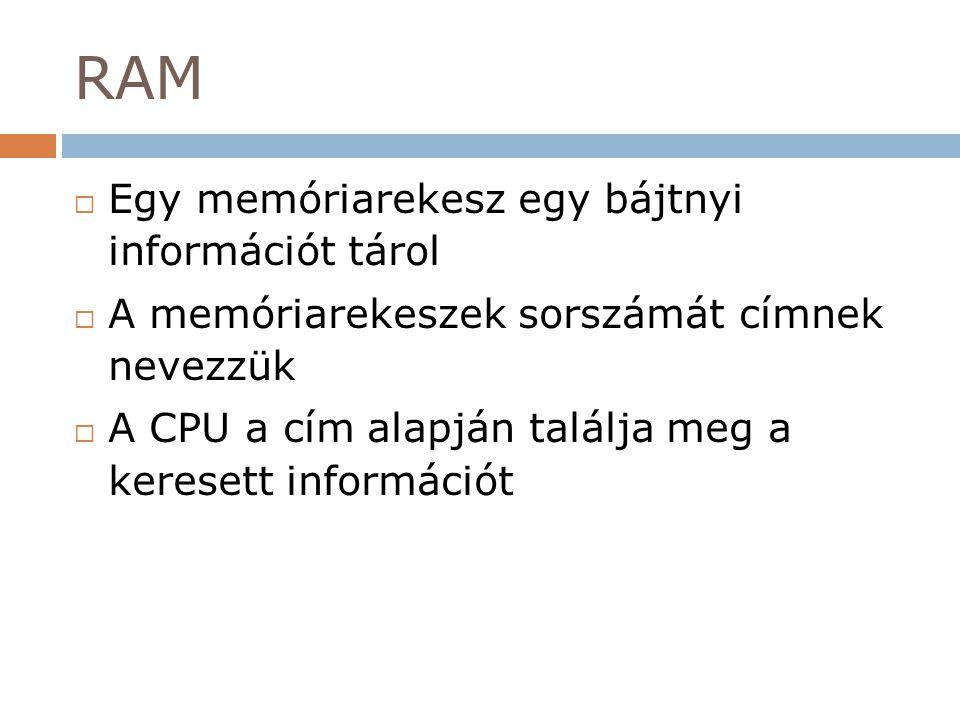 RAM Egy memóriarekesz egy bájtnyi információt tárol