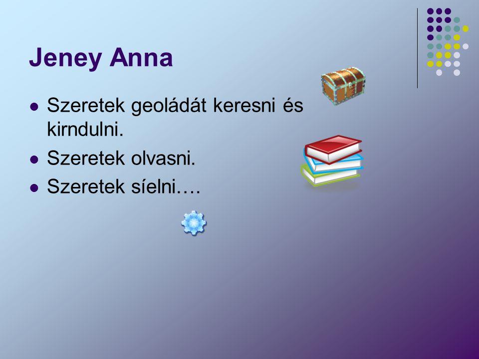 Jeney Anna Szeretek geoládát keresni és kirndulni. Szeretek olvasni.