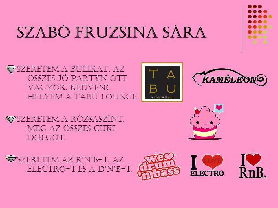 Szabó Fruzsina Sára Szeretem a bulikat, az összes jó partyn ott vagyok. KEDVENC HELYEM A TABU LOUNGE.