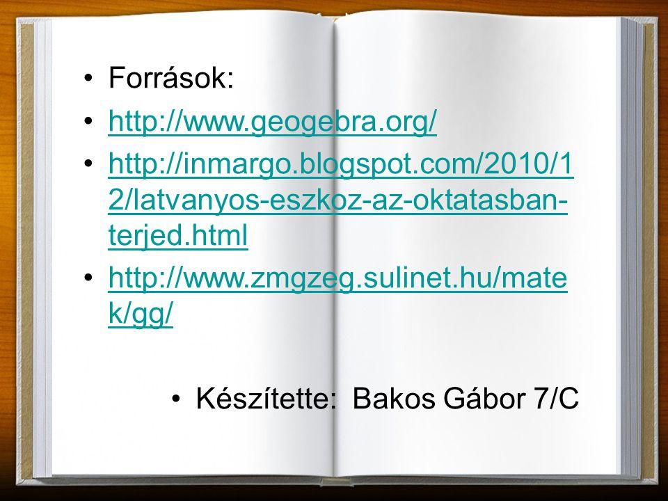 Források: http://www.geogebra.org/ http://inmargo.blogspot.com/2010/12/latvanyos-eszkoz-az-oktatasban-terjed.html.