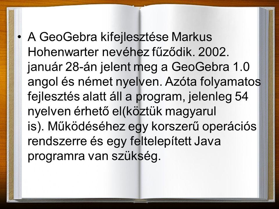 A GeoGebra kifejlesztése Markus Hohenwarter nevéhez fűződik. 2002