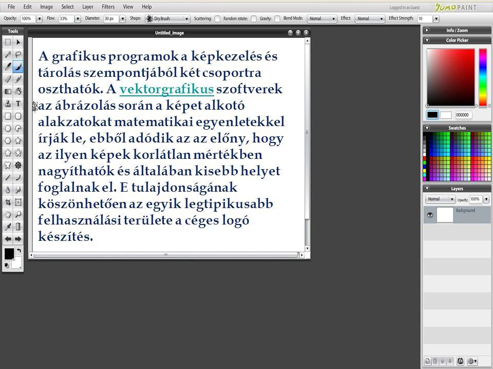 A grafikus programok a képkezelés és tárolás szempontjából két csoportra oszthatók.