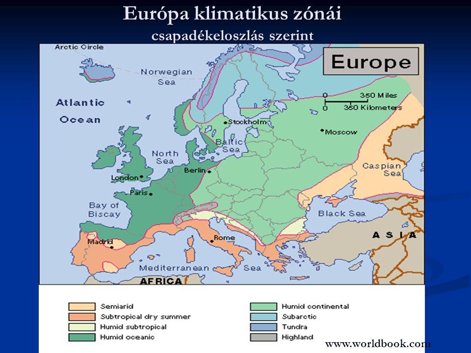 Európa klimatikus zónái csapadékeloszlás szerint