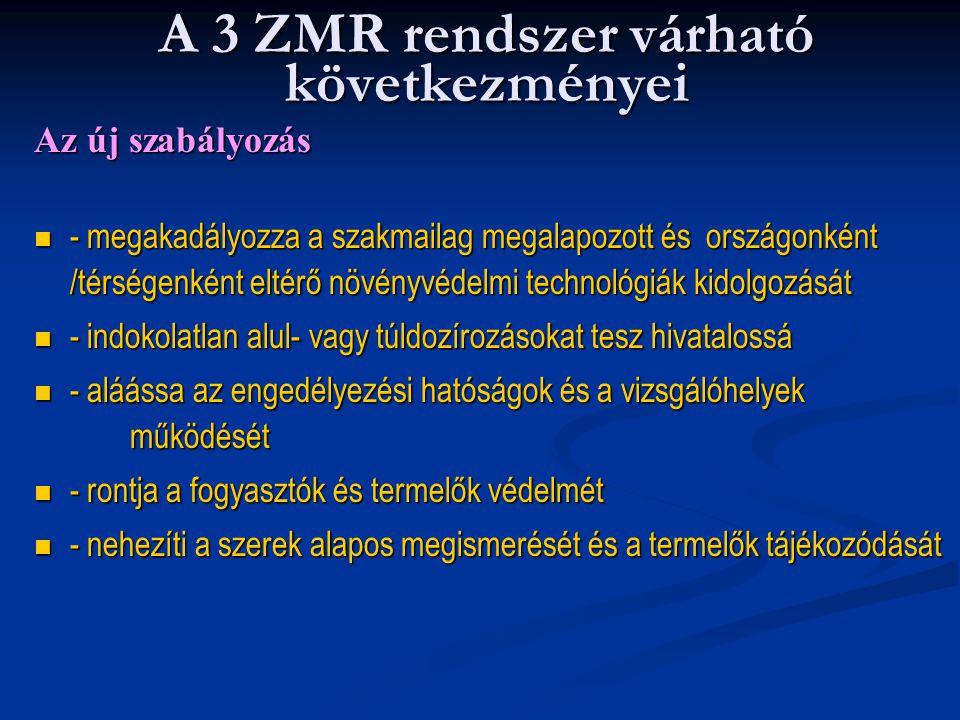 A 3 ZMR rendszer várható következményei