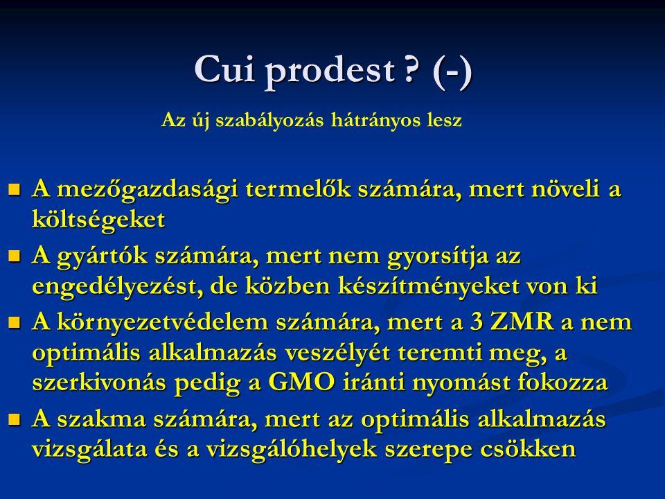 Cui prodest (-) Az új szabályozás hátrányos lesz. A mezőgazdasági termelők számára, mert növeli a költségeket.