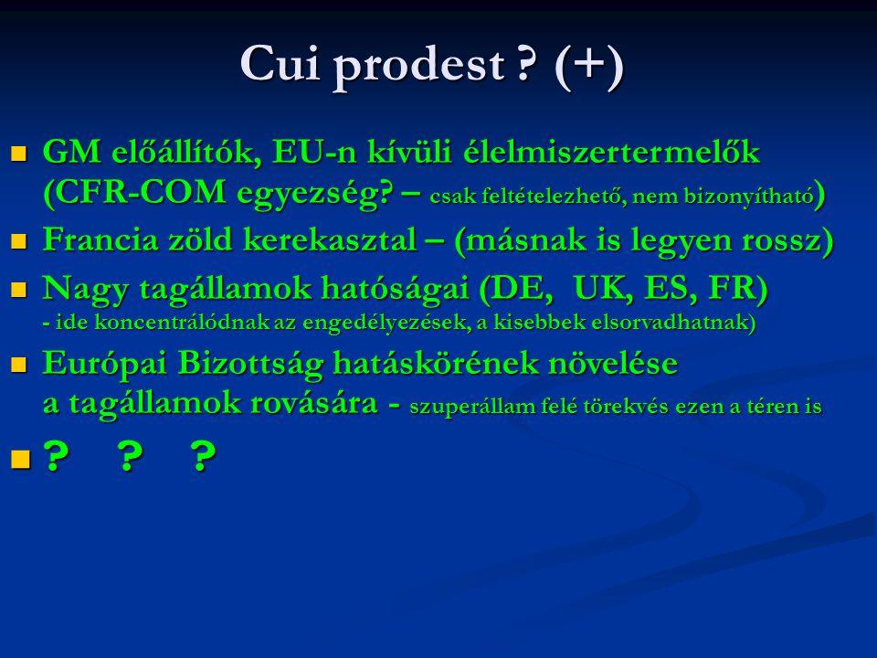 Cui prodest (+) GM előállítók, EU-n kívüli élelmiszertermelők (CFR-COM egyezség – csak feltételezhető, nem bizonyítható)