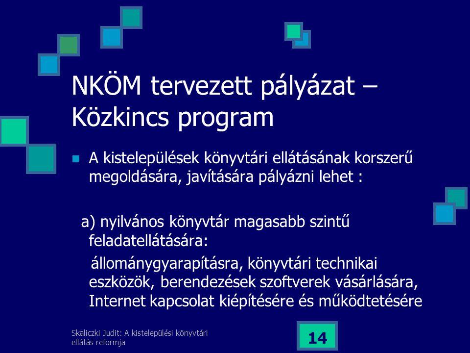 NKÖM tervezett pályázat – Közkincs program