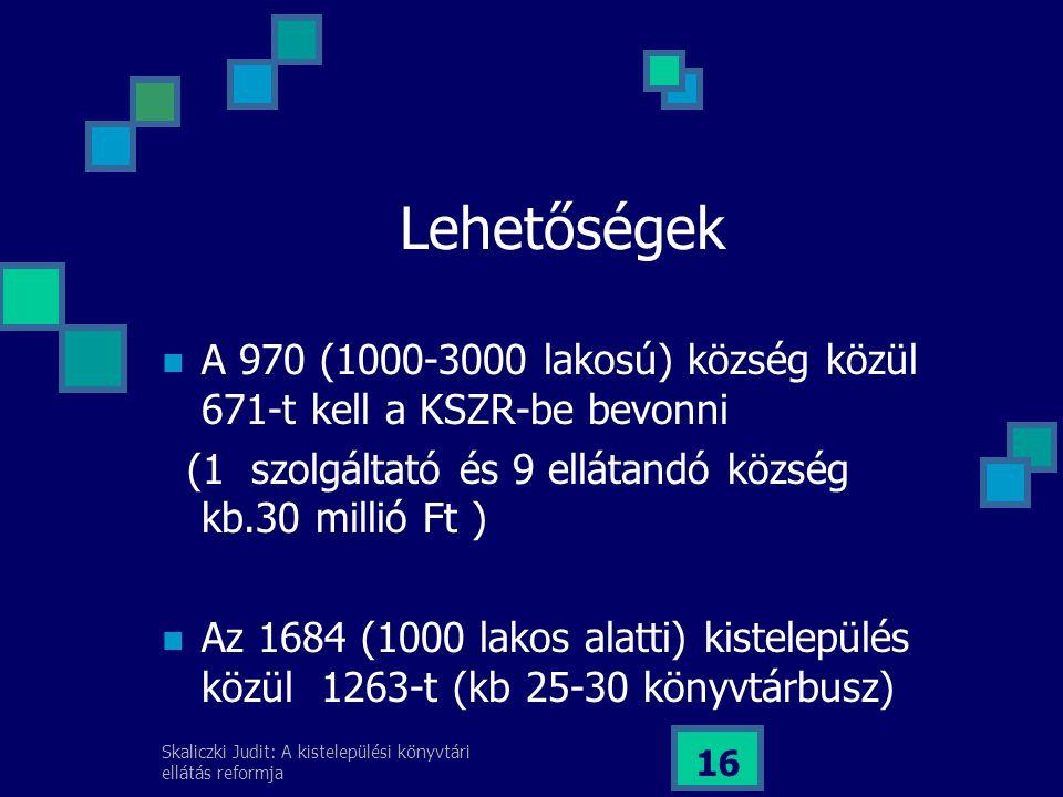 Lehetőségek A 970 (1000-3000 lakosú) község közül 671-t kell a KSZR-be bevonni. (1 szolgáltató és 9 ellátandó község kb.30 millió Ft )