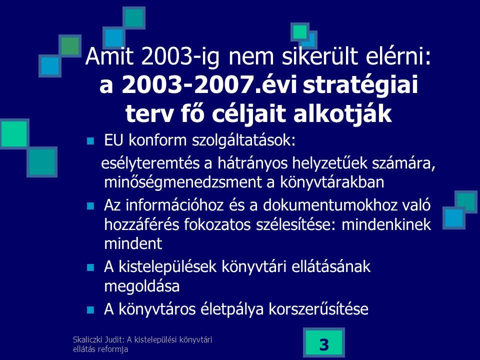 Amit 2003-ig nem sikerült elérni: a 2003-2007