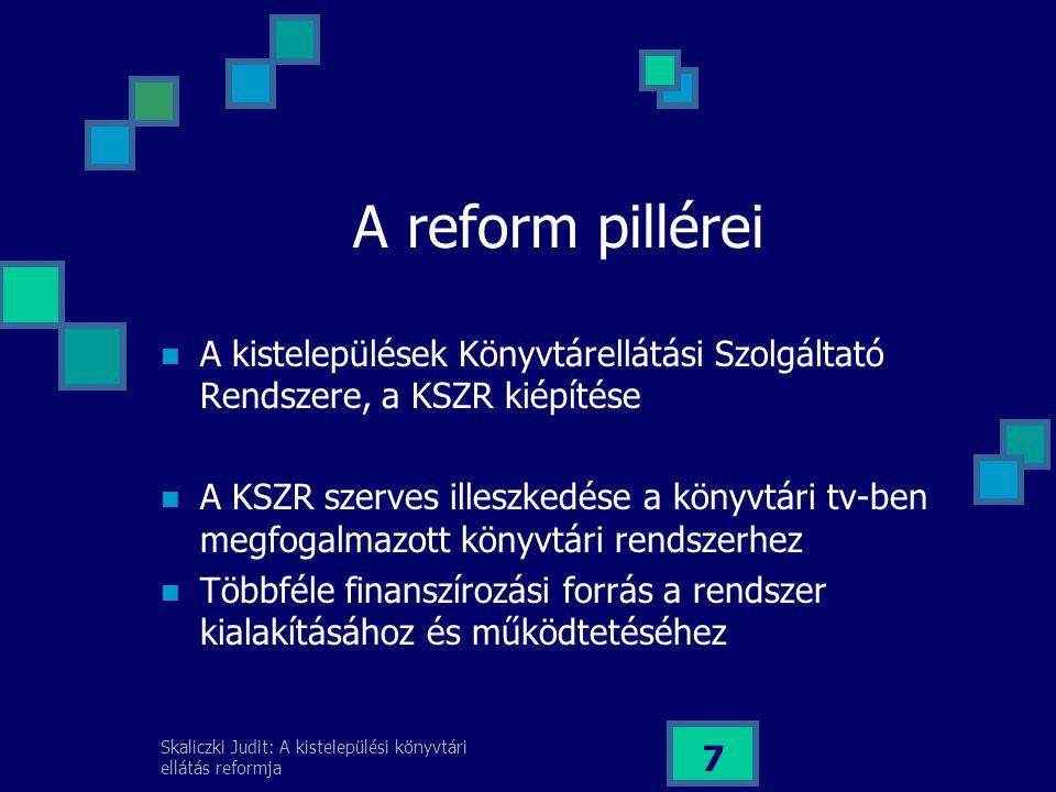 A reform pillérei A kistelepülések Könyvtárellátási Szolgáltató Rendszere, a KSZR kiépítése.