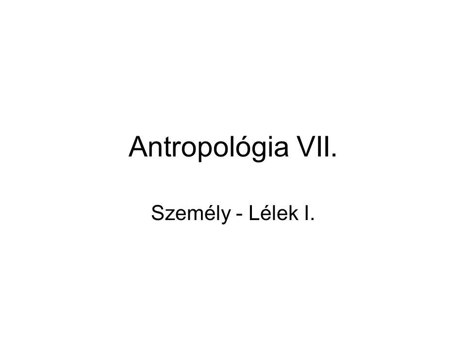 Antropológia VII. Személy - Lélek I.