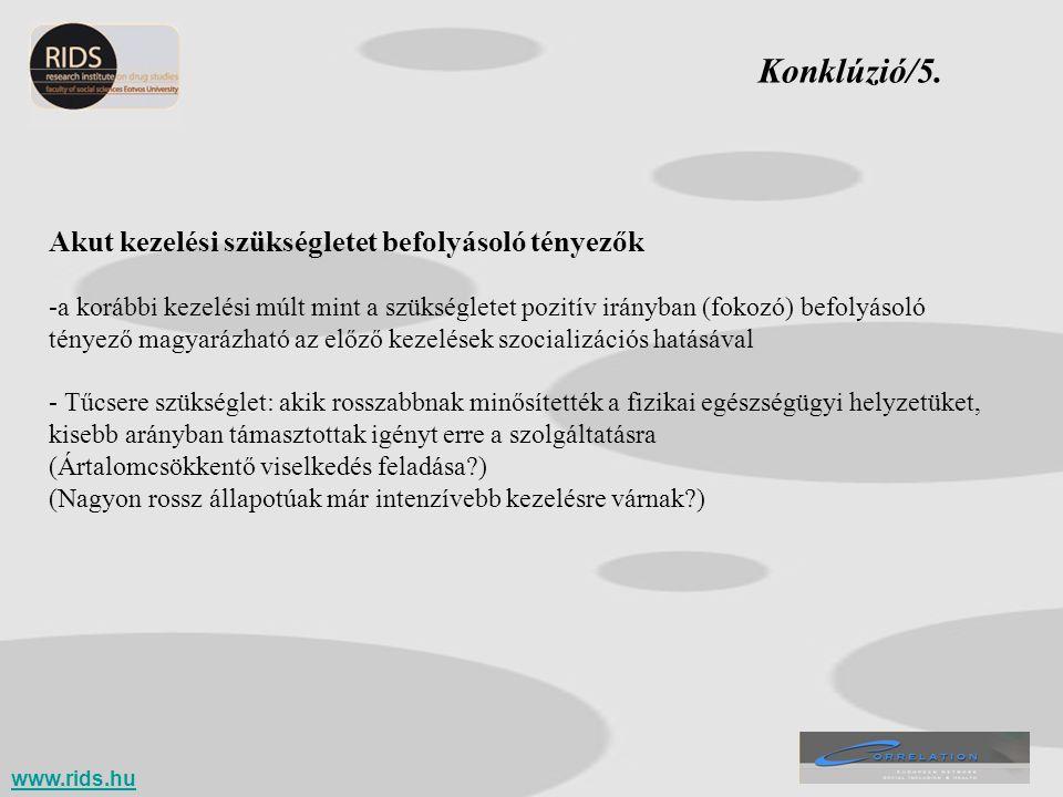 Konklúzió/5. Akut kezelési szükségletet befolyásoló tényezők