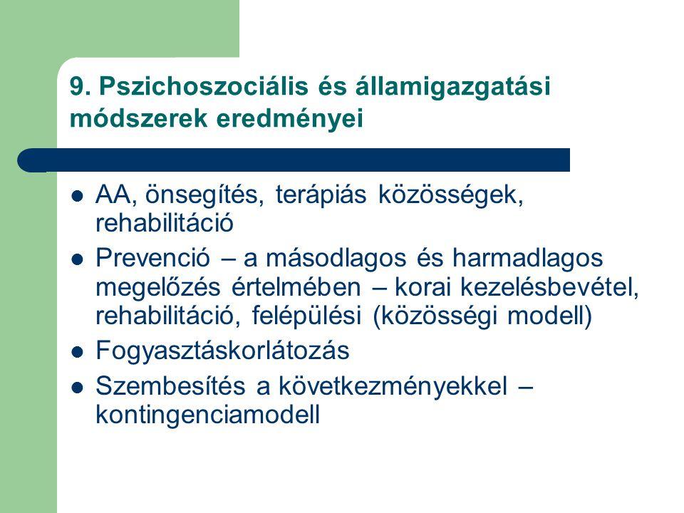 9. Pszichoszociális és államigazgatási módszerek eredményei