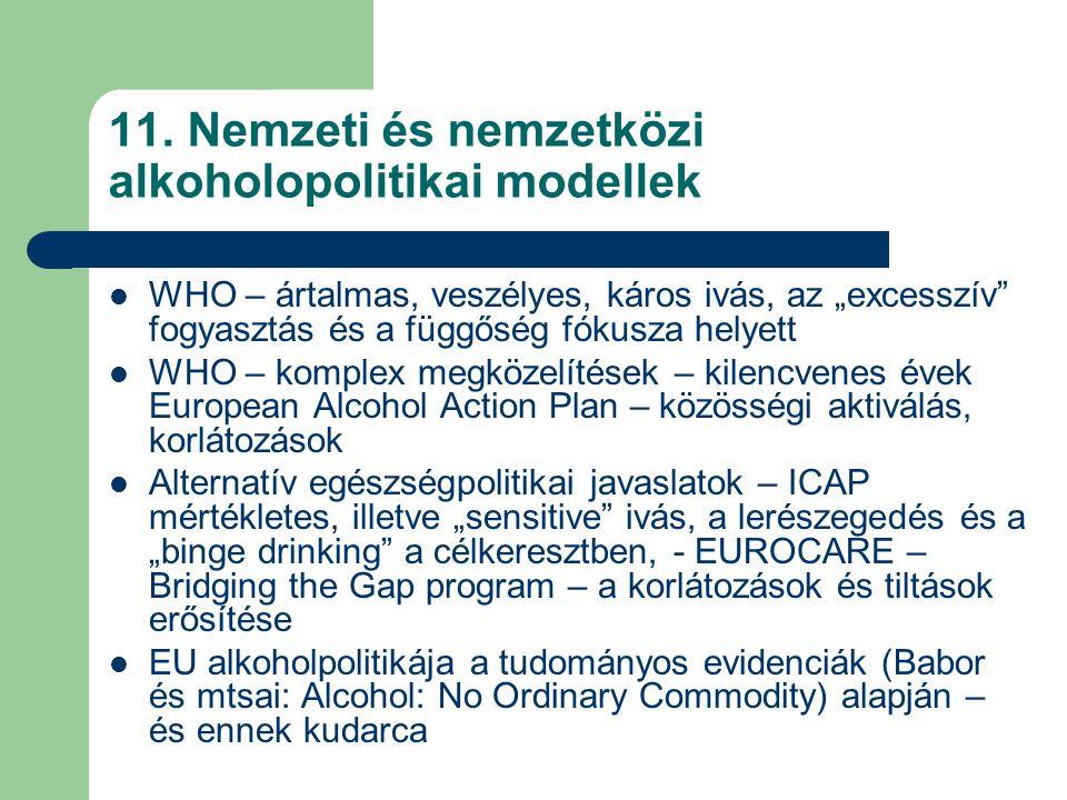 11. Nemzeti és nemzetközi alkoholopolitikai modellek