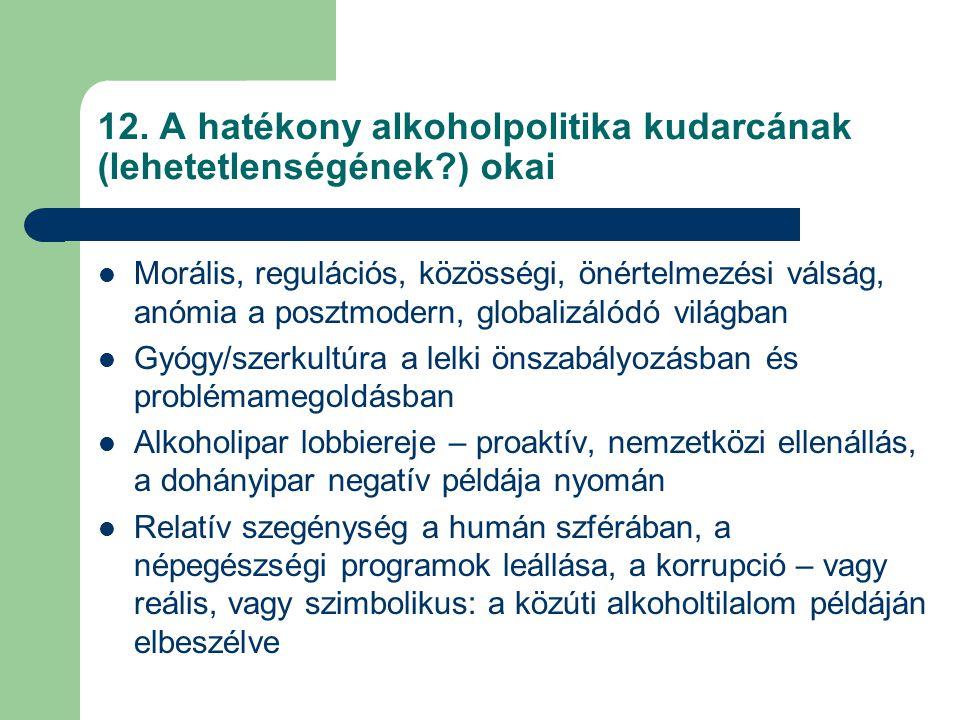 12. A hatékony alkoholpolitika kudarcának (lehetetlenségének ) okai