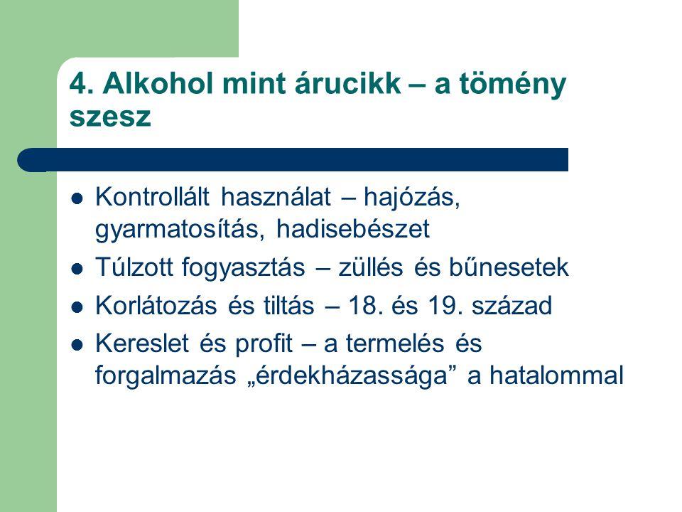 4. Alkohol mint árucikk – a tömény szesz
