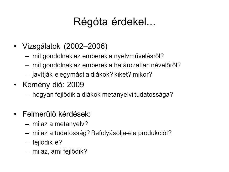 Régóta érdekel... Vizsgálatok (2002–2006) Kemény dió: 2009