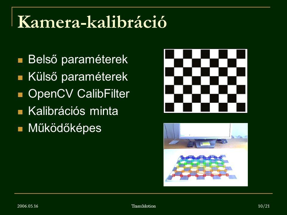 Kamera-kalibráció Belső paraméterek Külső paraméterek