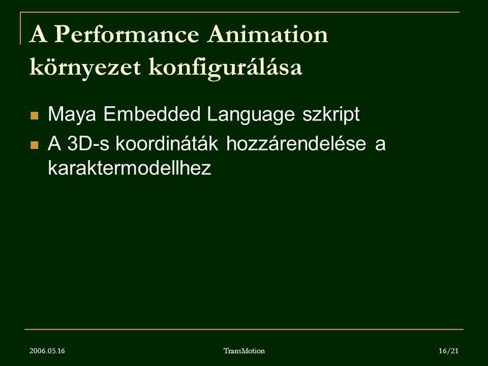 A Performance Animation környezet konfigurálása