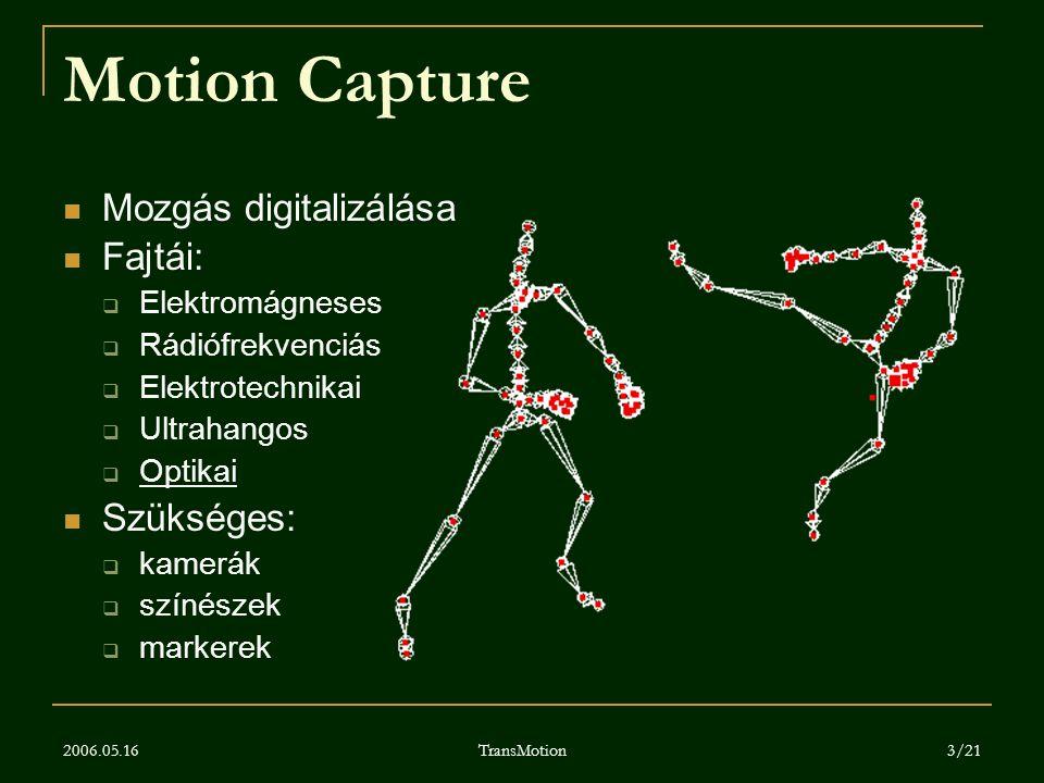 Motion Capture Mozgás digitalizálása Fajtái: Szükséges: