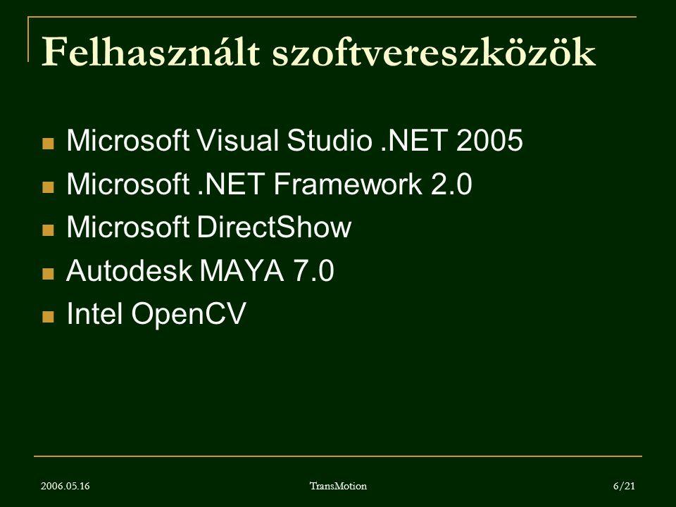Felhasznált szoftvereszközök