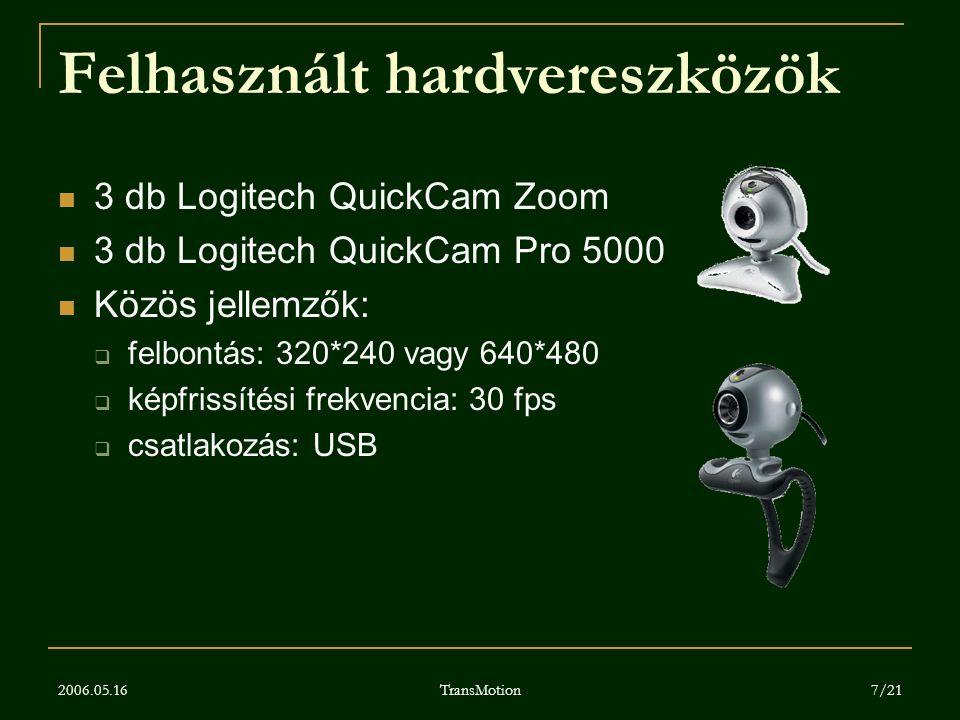 Felhasznált hardvereszközök