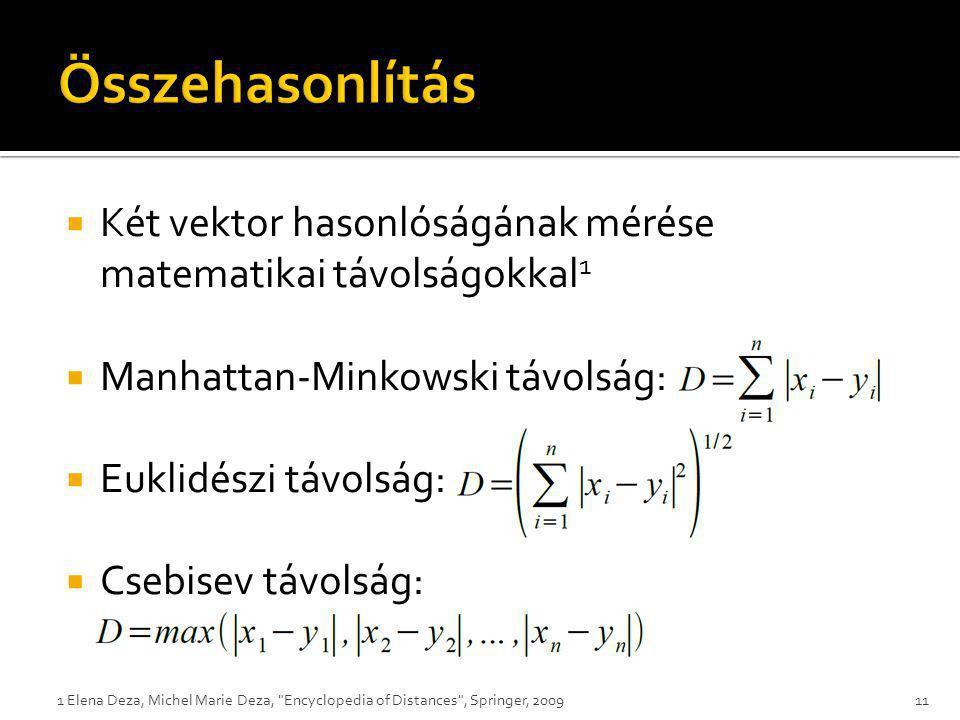 Összehasonlítás Két vektor hasonlóságának mérése matematikai távolságokkal1. Manhattan-Minkowski távolság: