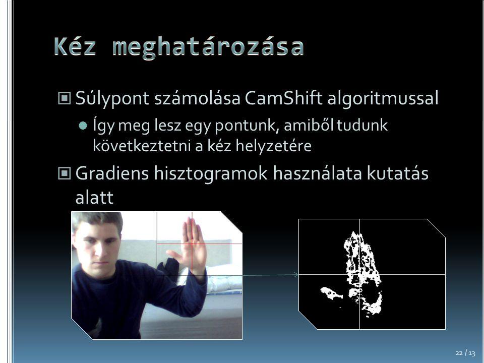 Kéz meghatározása Súlypont számolása CamShift algoritmussal