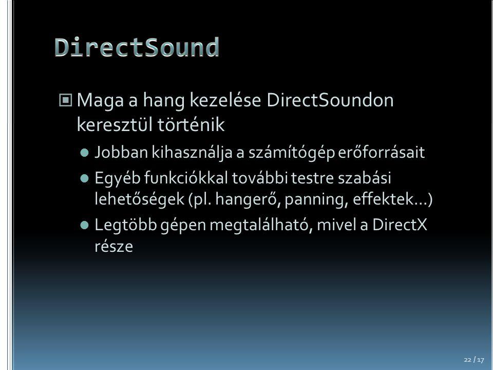 DirectSound Maga a hang kezelése DirectSoundon keresztül történik