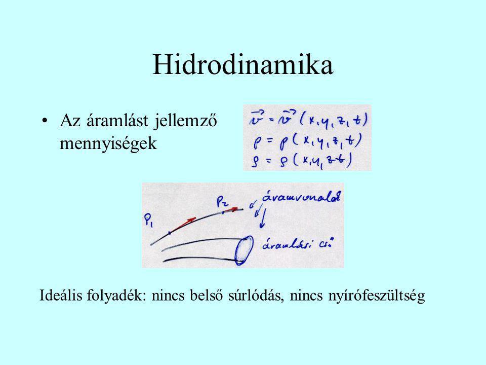 Hidrodinamika Az áramlást jellemző mennyiségek