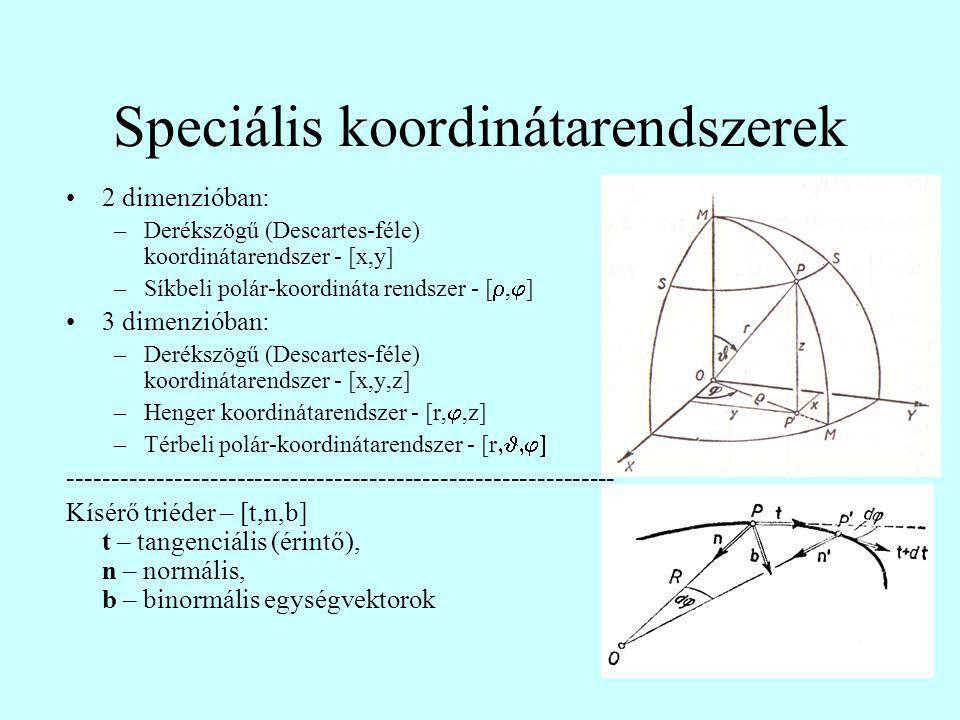 Speciális koordinátarendszerek