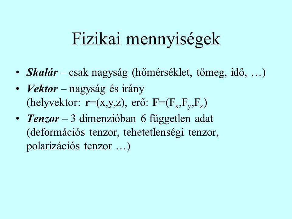 Fizikai mennyiségek Skalár – csak nagyság (hőmérséklet, tömeg, idő, …)