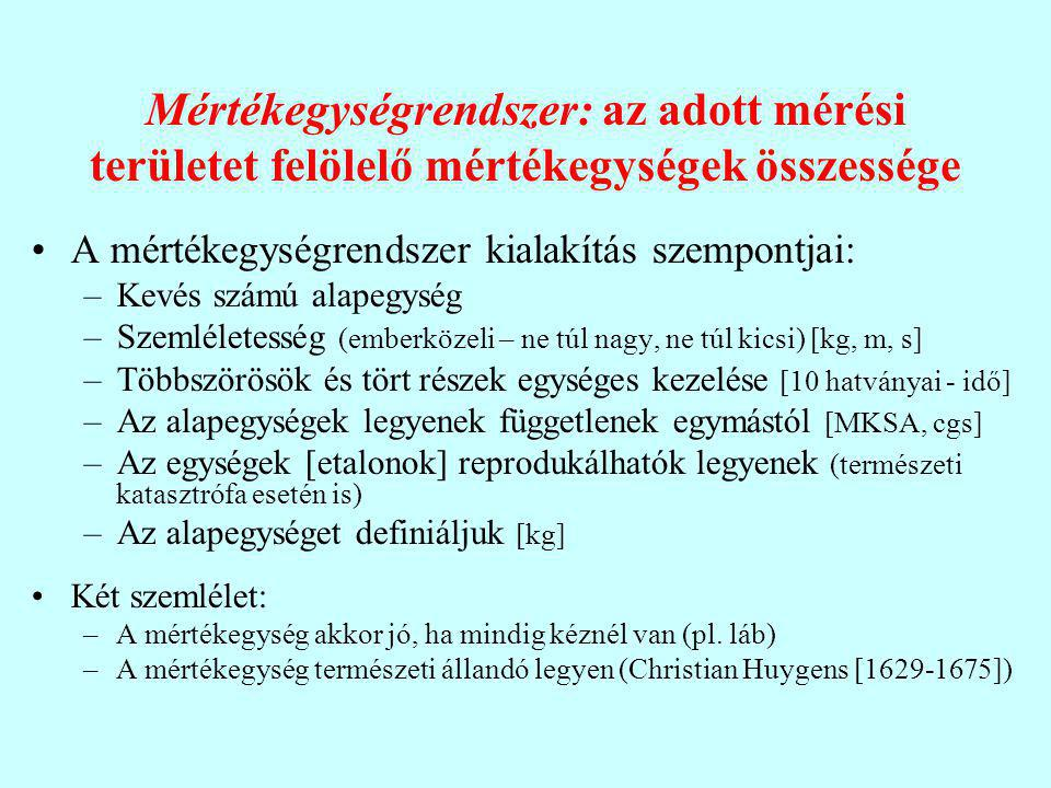 Mértékegységrendszer: az adott mérési területet felölelő mértékegységek összessége