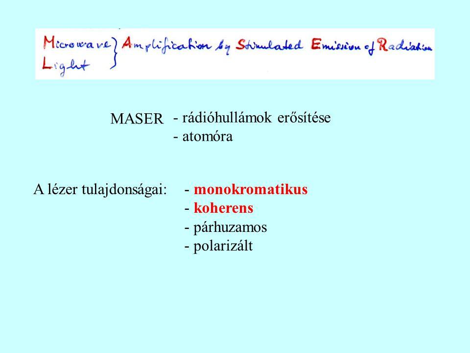 MASER - rádióhullámok erősítése - atomóra.