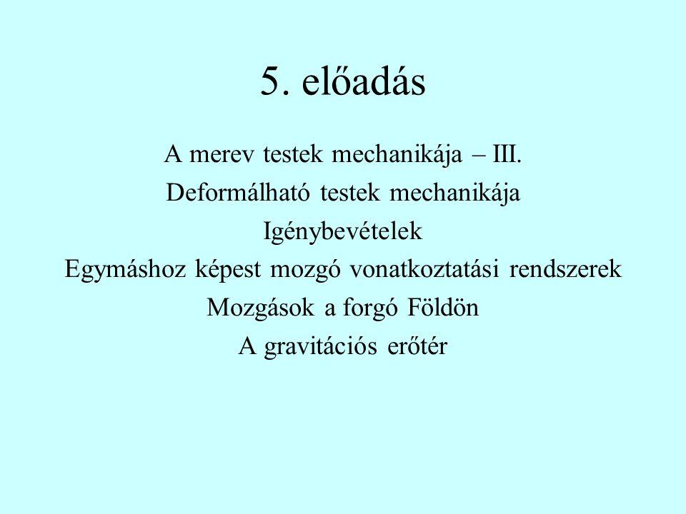 5. előadás A merev testek mechanikája – III.