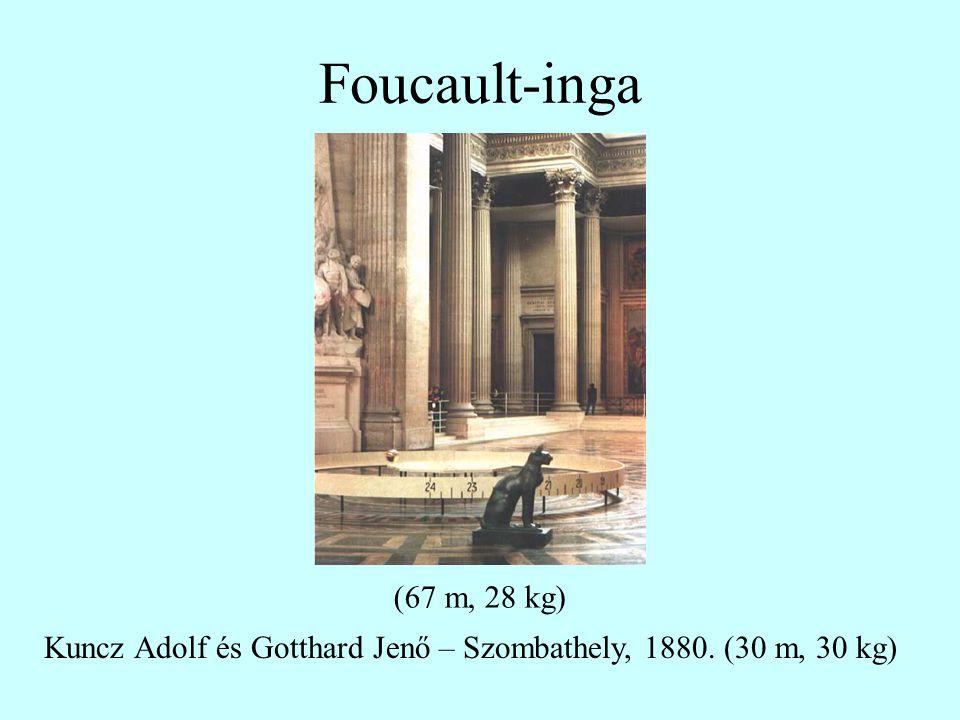 Foucault-inga (67 m, 28 kg) Kuncz Adolf és Gotthard Jenő – Szombathely, 1880. (30 m, 30 kg)