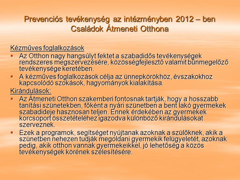 Prevenciós tevékenység az intézményben 2012 – ben Családok Átmeneti Otthona