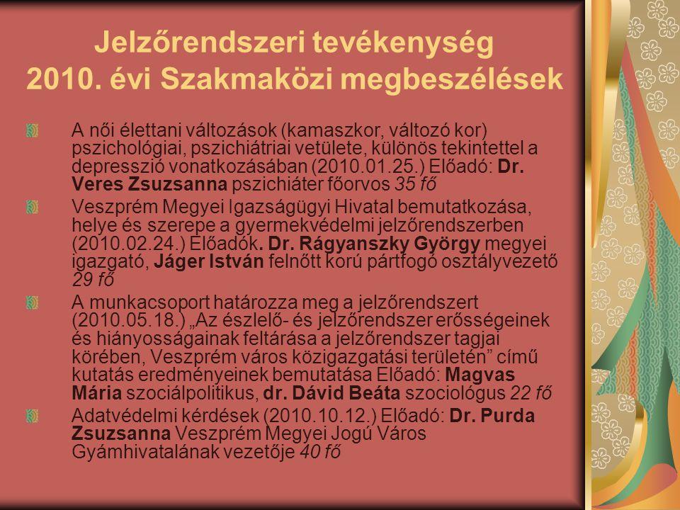 Jelzőrendszeri tevékenység 2010. évi Szakmaközi megbeszélések