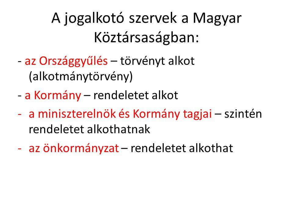 A jogalkotó szervek a Magyar Köztársaságban: