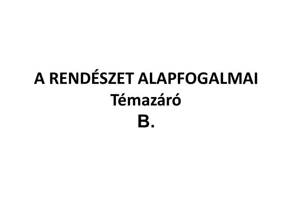 A RENDÉSZET ALAPFOGALMAI Témazáró B.
