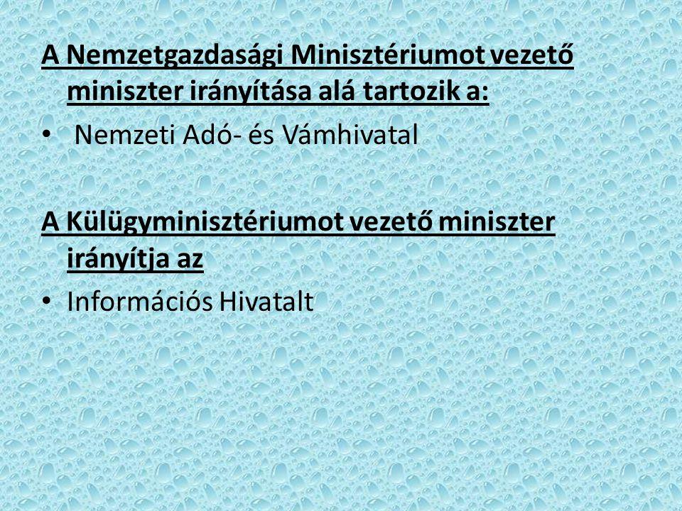 A Nemzetgazdasági Minisztériumot vezető miniszter irányítása alá tartozik a: