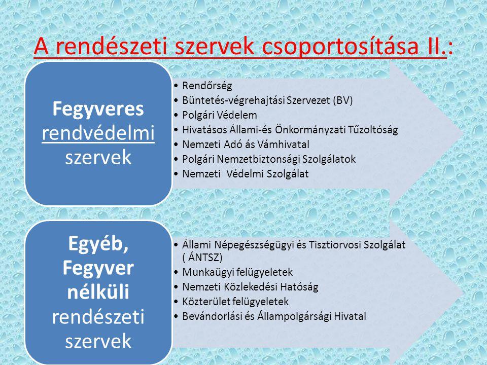 A rendészeti szervek csoportosítása II.: