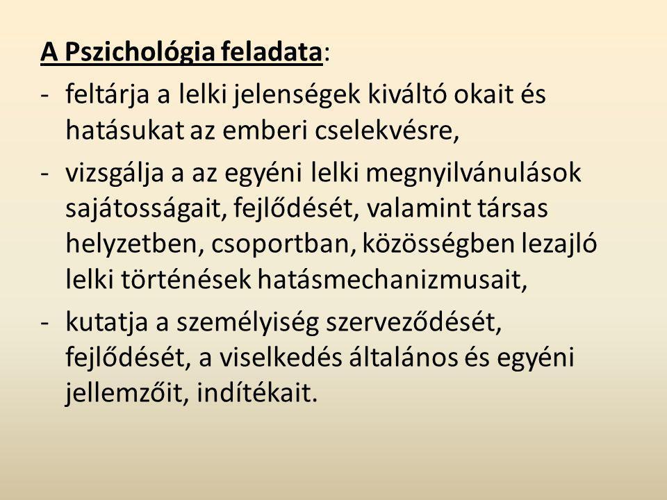 A Pszichológia feladata: